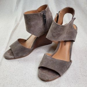 Lucky Brand Taupe Faux Suede Wedge Sandals